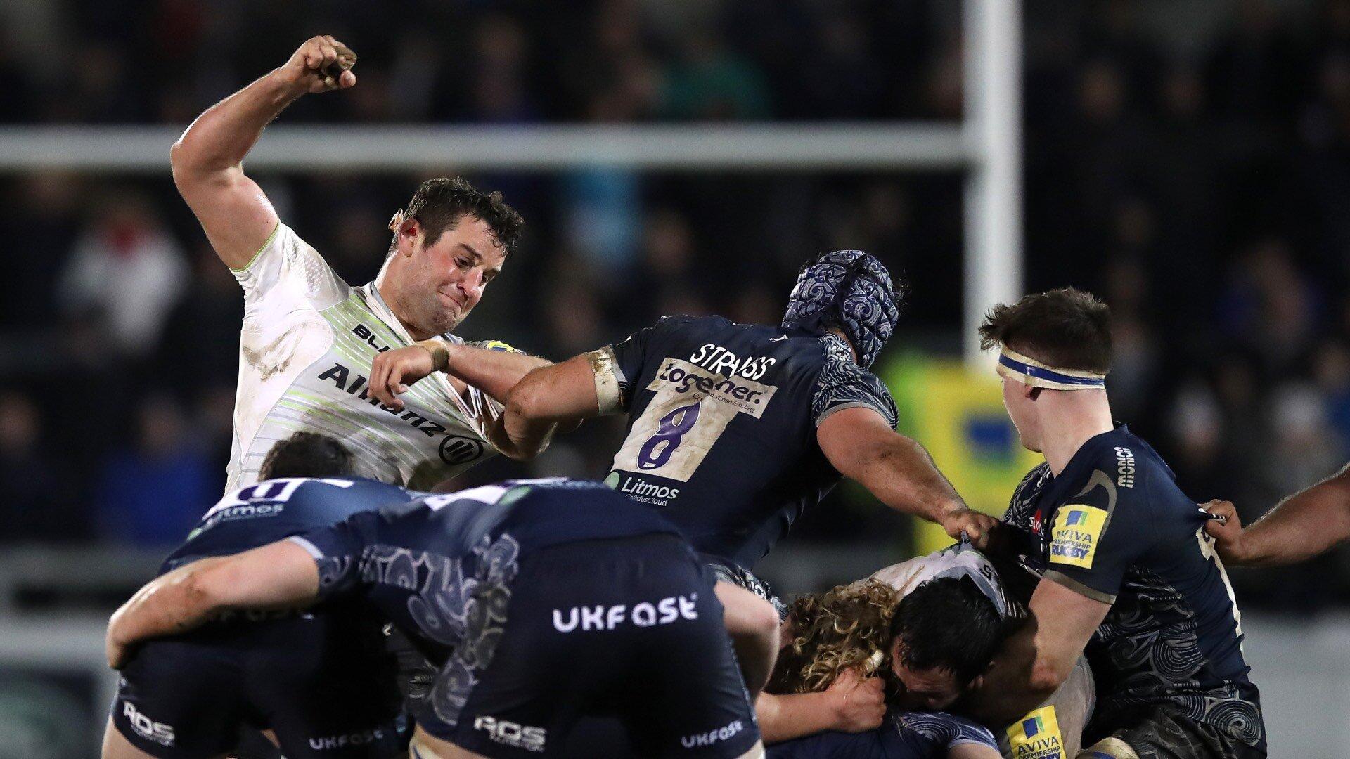 rugby action Saracens Clark