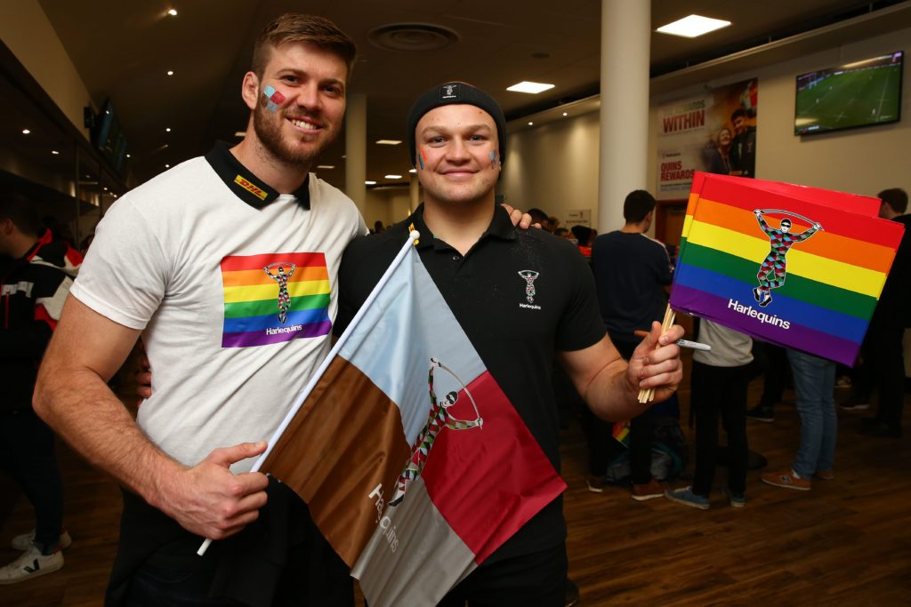 Harlequins players with pride branding