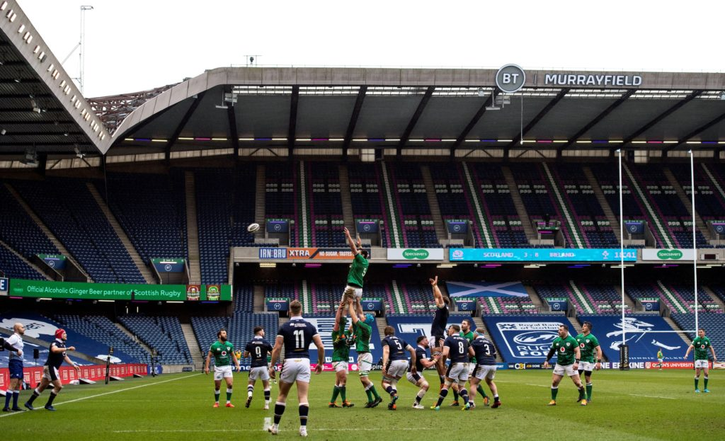 Scotland and Ireland contest a line-out at Murrayfield.