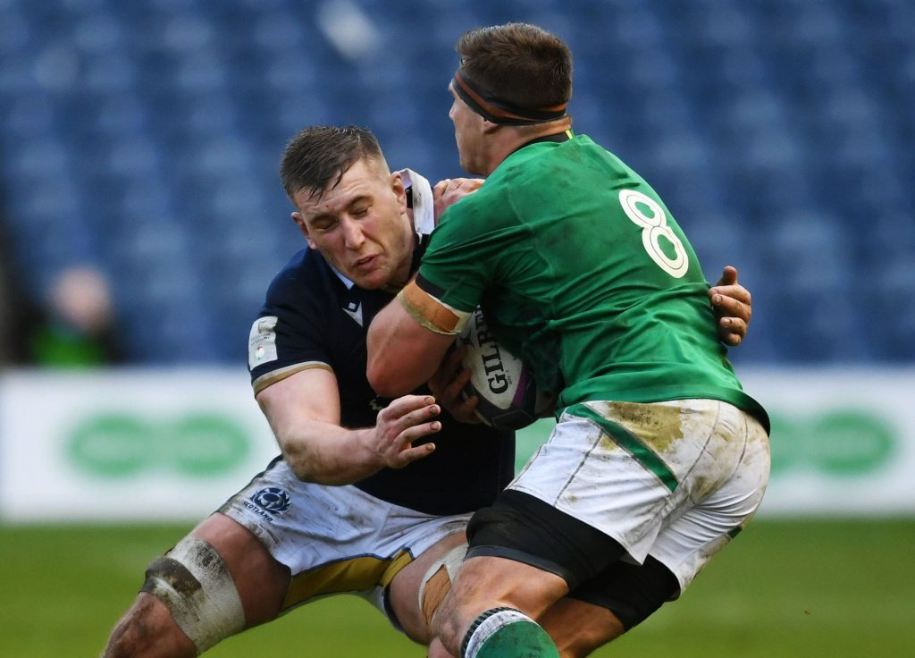 Ireland's CJ Stander is tackled by <a href=