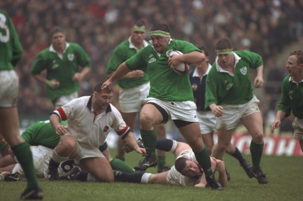 Nick Popplewell in action for IReland against England