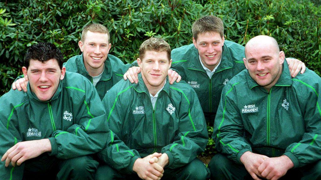 Ireland players, Shane Horgan, Peter Stringer, Simon Easterby, Ronan O'Gara and John Hayes.