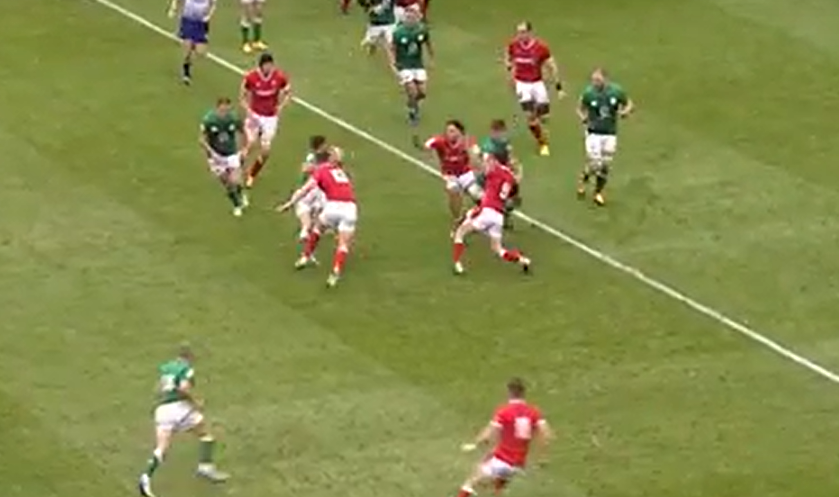 Wales defend an Irish attack
