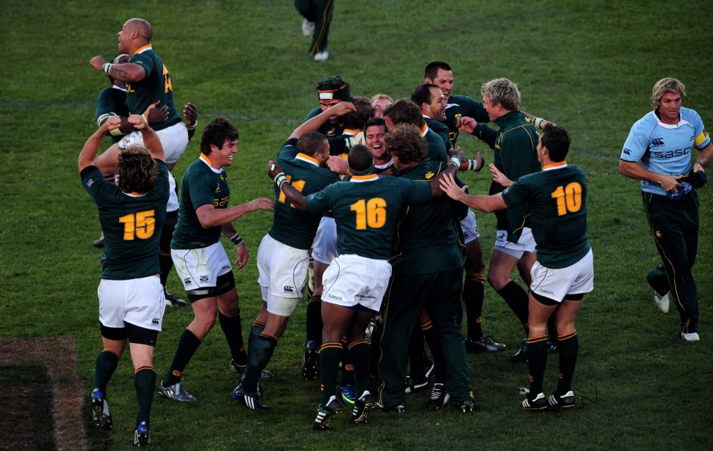 Springboks players celebrate beating the British and Irish Lions in the second Test in 2009