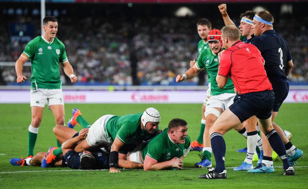 Ireland prop Tadhg Furlong scores a try against Scotland