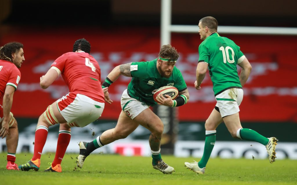 Ireland prop Andrew Porter carries ball against Wales