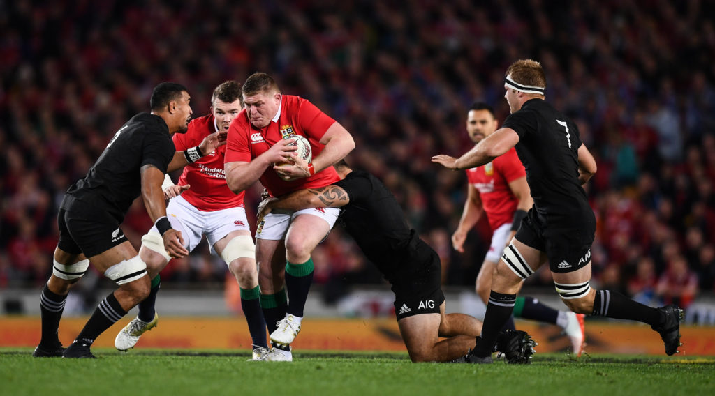 Tadhg Furlong carries ball for the British and Irish Lions against New Zealand