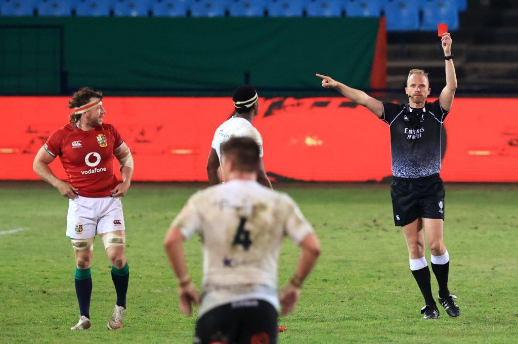 referee Wayne Barnes red card