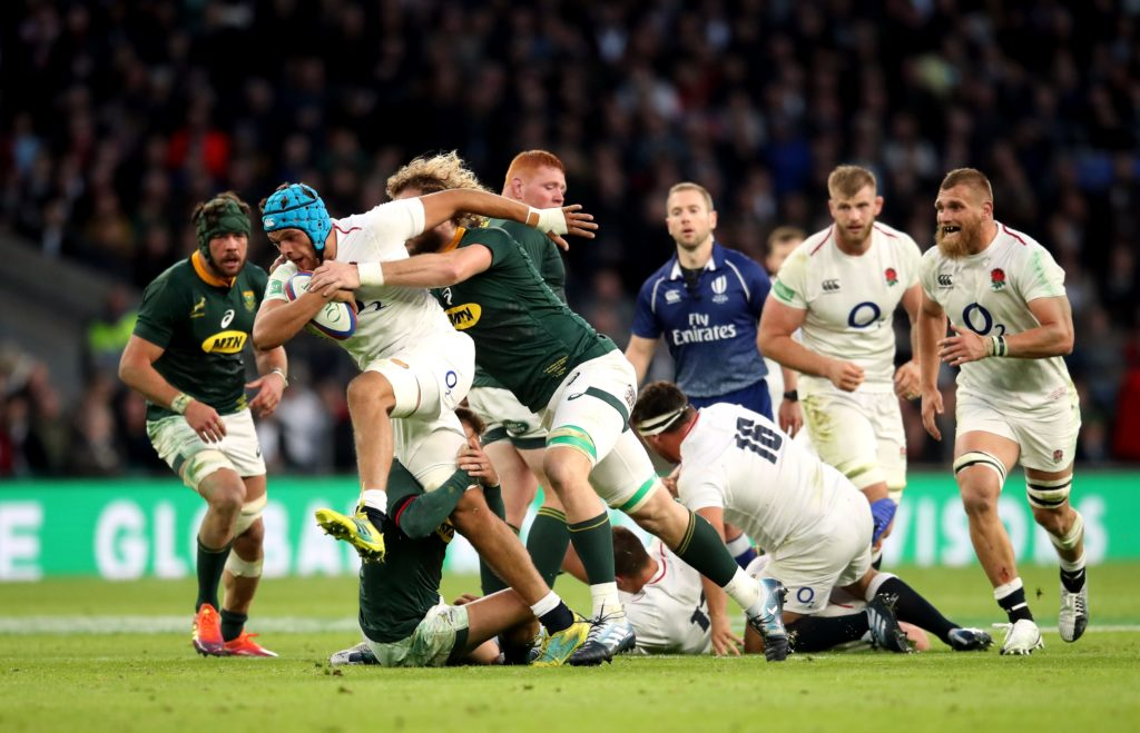 Zach Mercer carries ball for England against South Africa