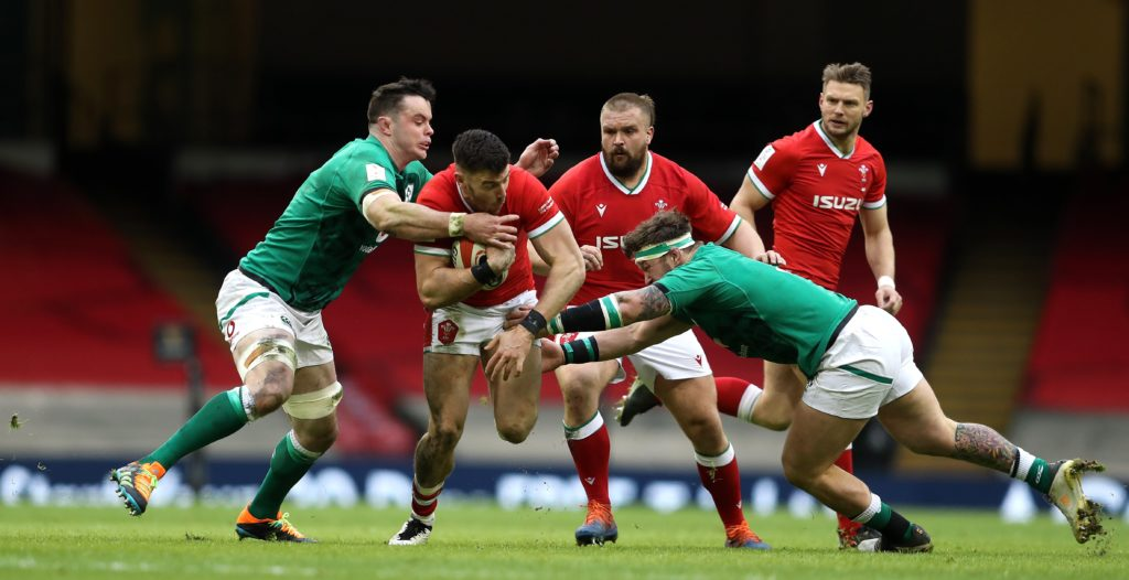 Johnny Williams carries ball for Wales against Ireland